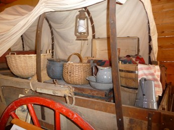 Oregon Trail Wagon on display at the Linn County Historical Museum in Brownsville Oregon