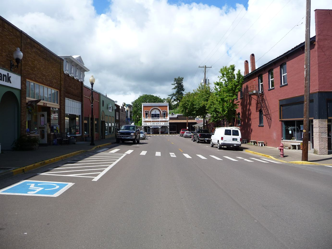 View of Main Street looking North in Brownsville Oregon.  Photo taken in May of 2010